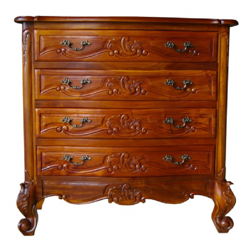 Louis 4 Drawer French Chest in Mahogany